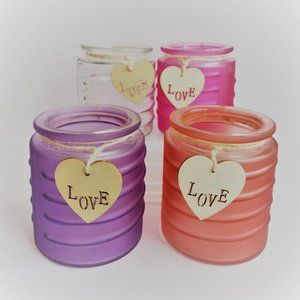 Glass Votive Candleholder with LOVE, choose color